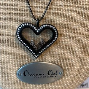 Origami Owl Black Large Heart Locket with chain.